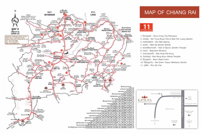 Location Map Chiang Rai hotels Katiliya Mountain Resort Spa